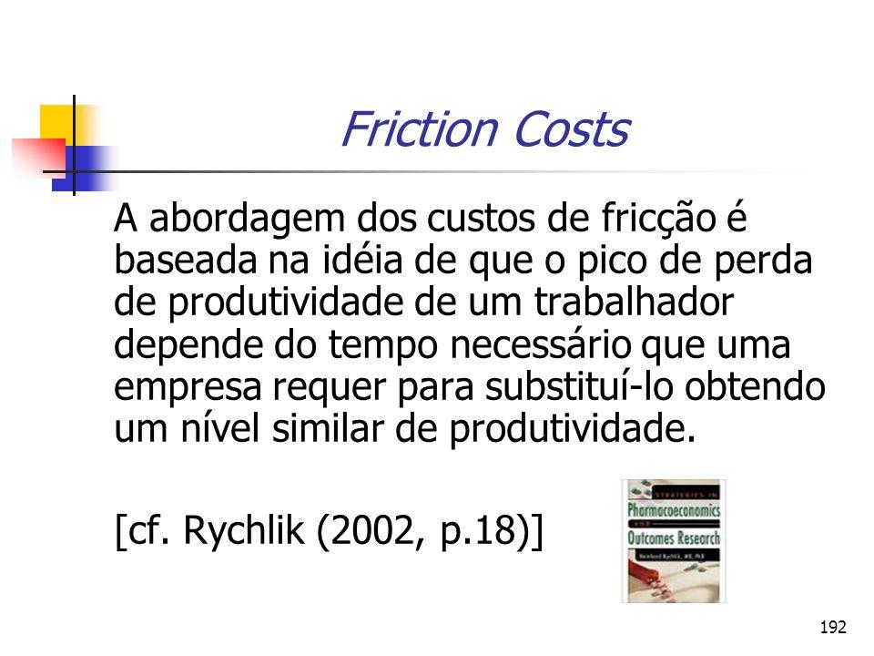 192 Friction Costs A abordagem dos custos de fricção é baseada na idéia de que o pico de perda de produtividade de um trabalhador depende do tempo nec
