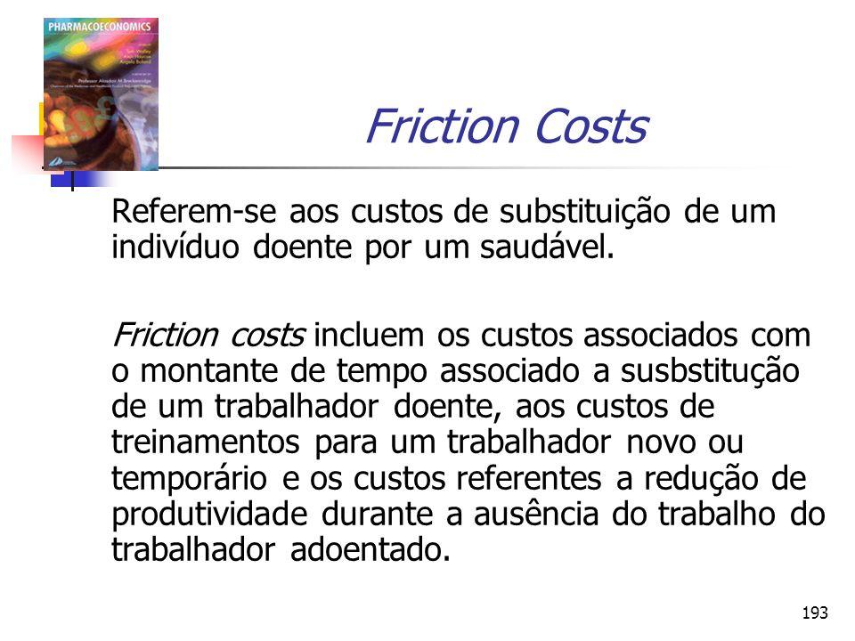 193 Friction Costs Referem-se aos custos de substituição de um indivíduo doente por um saudável. Friction costs incluem os custos associados com o mon