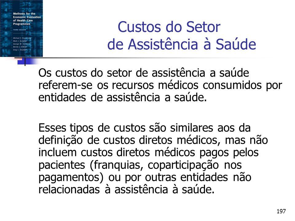 197 Custos do Setor de Assistência à Saúde Os custos do setor de assistência a saúde referem-se os recursos médicos consumidos por entidades de assist