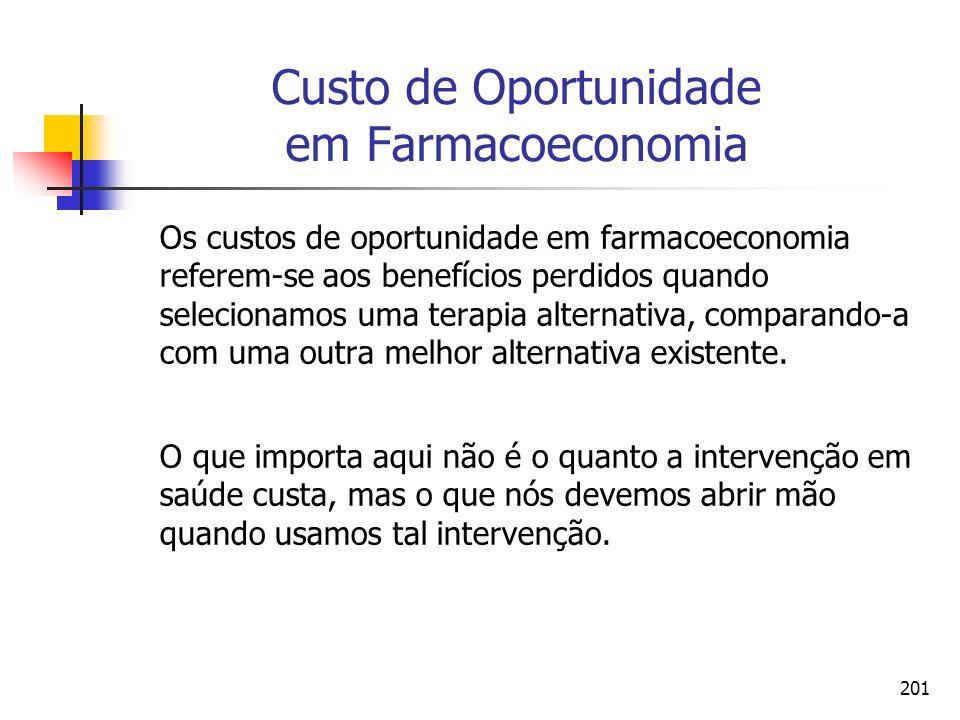 201 Custo de Oportunidade em Farmacoeconomia Os custos de oportunidade em farmacoeconomia referem-se aos benefícios perdidos quando selecionamos uma t