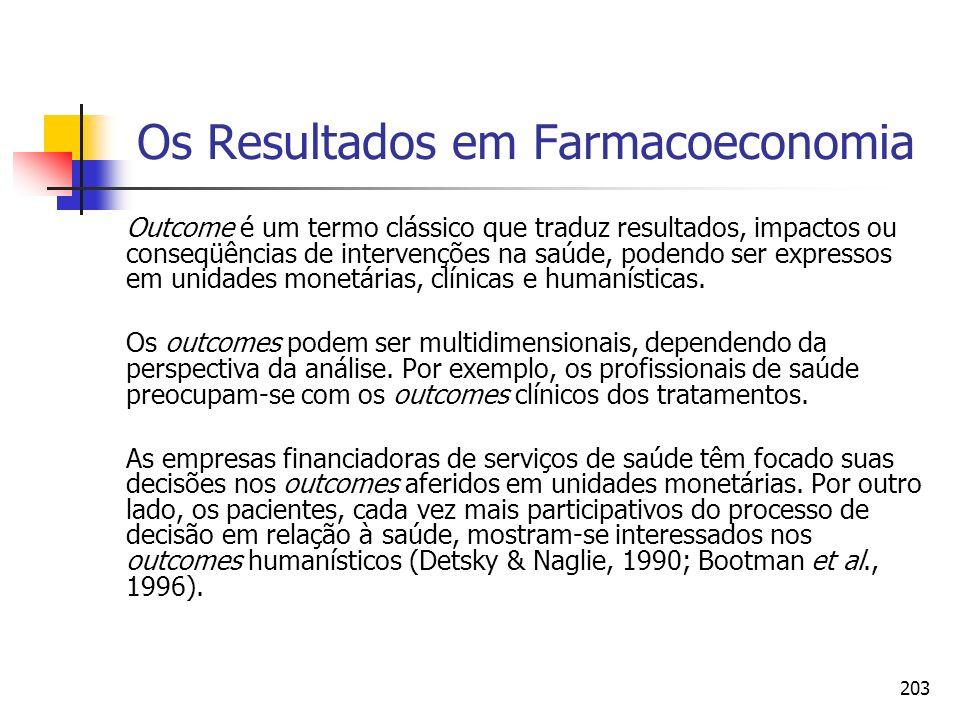 203 Os Resultados em Farmacoeconomia Outcome é um termo clássico que traduz resultados, impactos ou conseqüências de intervenções na saúde, podendo se