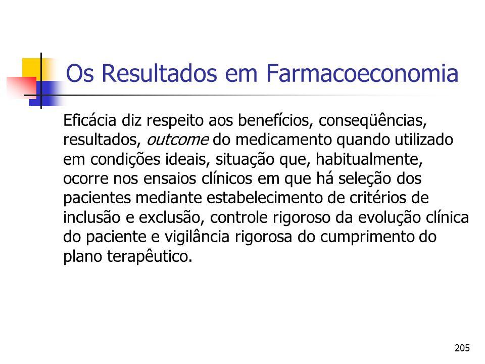 205 Os Resultados em Farmacoeconomia Eficácia diz respeito aos benefícios, conseqüências, resultados, outcome do medicamento quando utilizado em condi
