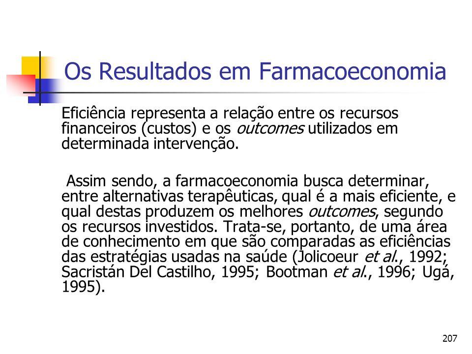 207 Os Resultados em Farmacoeconomia Eficiência representa a relação entre os recursos financeiros (custos) e os outcomes utilizados em determinada in