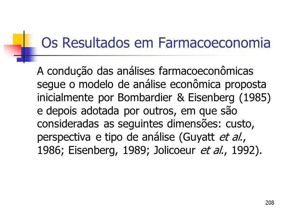 208 Os Resultados em Farmacoeconomia A condução das análises farmacoeconômicas segue o modelo de análise econômica proposta inicialmente por Bombardie