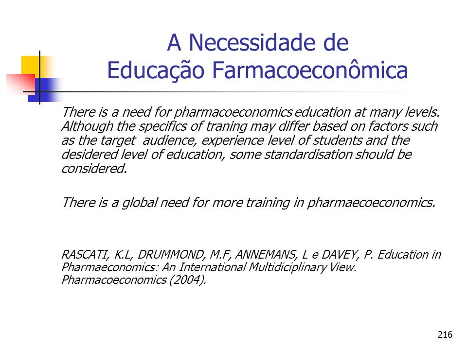 216 A Necessidade de Educação Farmacoeconômica There is a need for pharmacoeconomics education at many levels.