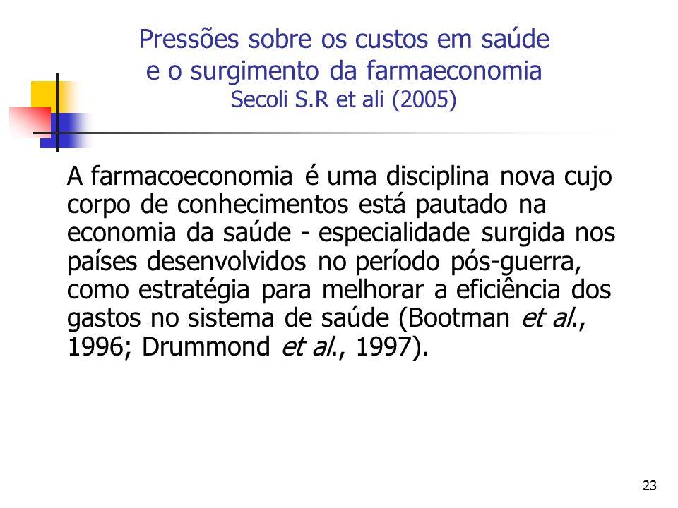23 Pressões sobre os custos em saúde e o surgimento da farmaeconomia Secoli S.R et ali (2005) A farmacoeconomia é uma disciplina nova cujo corpo de co