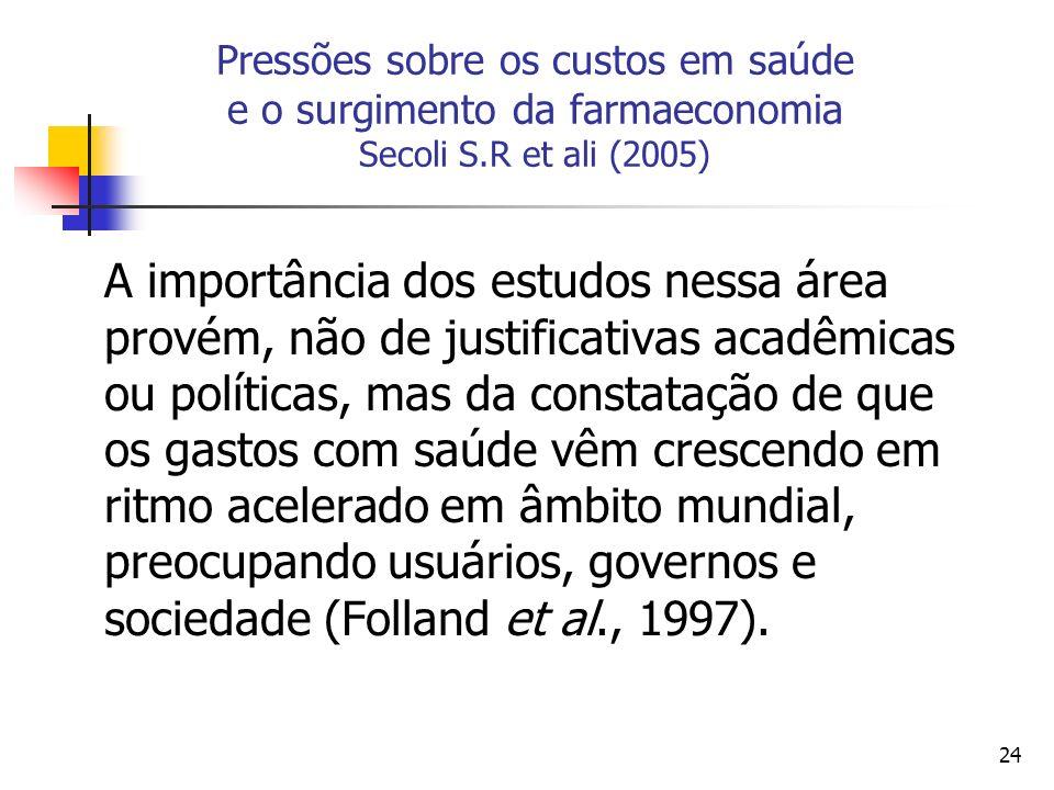 24 Pressões sobre os custos em saúde e o surgimento da farmaeconomia Secoli S.R et ali (2005) A importância dos estudos nessa área provém, não de just