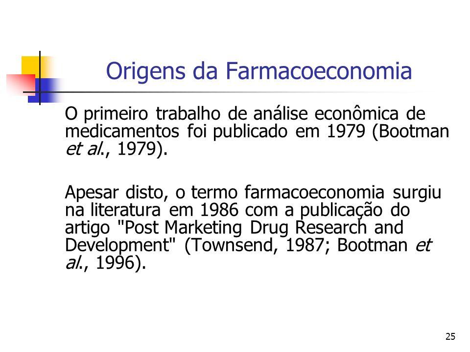 25 Origens da Farmacoeconomia O primeiro trabalho de análise econômica de medicamentos foi publicado em 1979 (Bootman et al., 1979). Apesar disto, o t