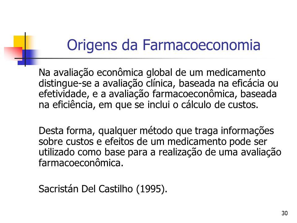 30 Origens da Farmacoeconomia Na avaliação econômica global de um medicamento distingue-se a avaliação clínica, baseada na eficácia ou efetividade, e