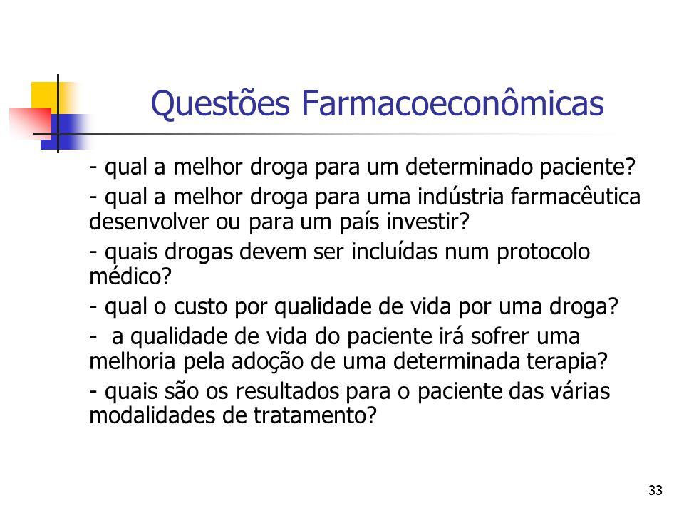 33 Questões Farmacoeconômicas - qual a melhor droga para um determinado paciente? - qual a melhor droga para uma indústria farmacêutica desenvolver ou