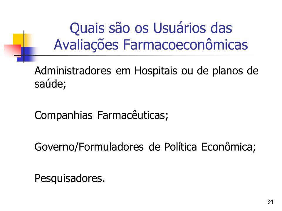 34 Quais são os Usuários das Avaliações Farmacoeconômicas Administradores em Hospitais ou de planos de saúde; Companhias Farmacêuticas; Governo/Formul