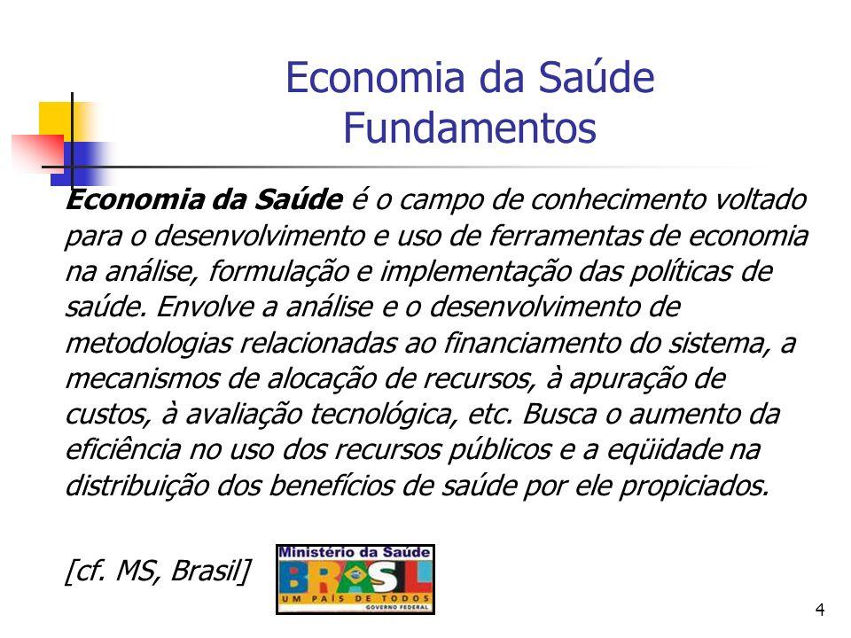 4 Economia da Saúde Fundamentos Economia da Saúde é o campo de conhecimento voltado para o desenvolvimento e uso de ferramentas de economia na análise