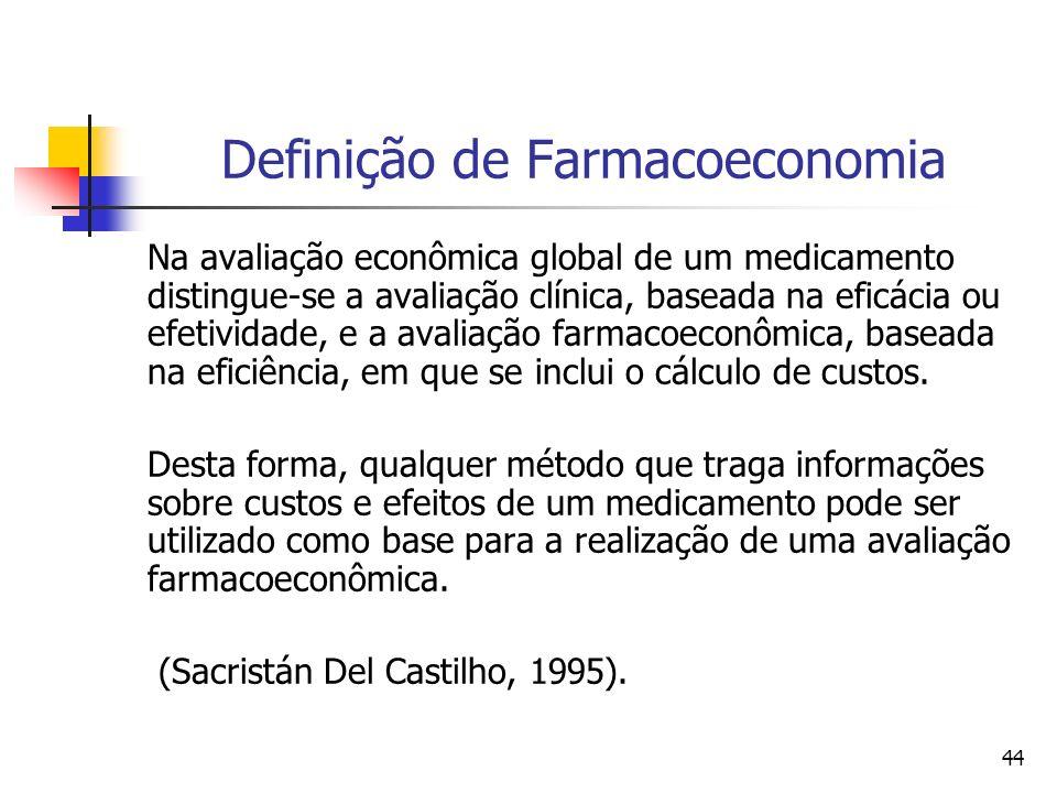 44 Definição de Farmacoeconomia Na avaliação econômica global de um medicamento distingue-se a avaliação clínica, baseada na eficácia ou efetividade,