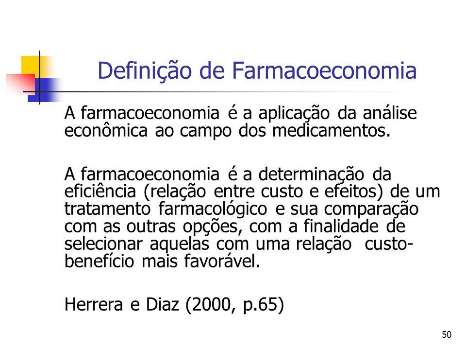 50 Definição de Farmacoeconomia A farmacoeconomia é a aplicação da análise econômica ao campo dos medicamentos. A farmacoeconomia é a determinação da