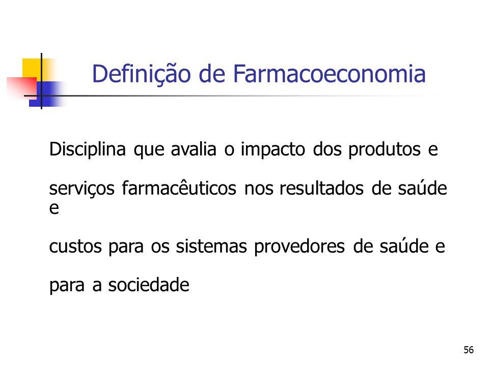 56 Disciplina que avalia o impacto dos produtos e serviços farmacêuticos nos resultados de saúde e custos para os sistemas provedores de saúde e para