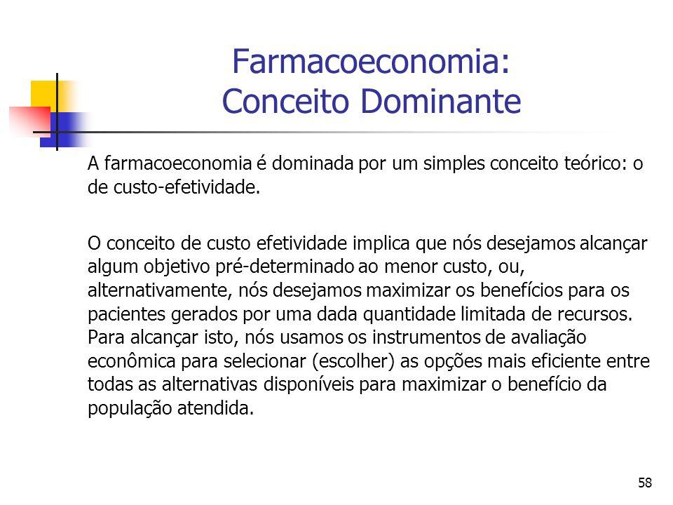 58 Farmacoeconomia: Conceito Dominante A farmacoeconomia é dominada por um simples conceito teórico: o de custo-efetividade. O conceito de custo efeti