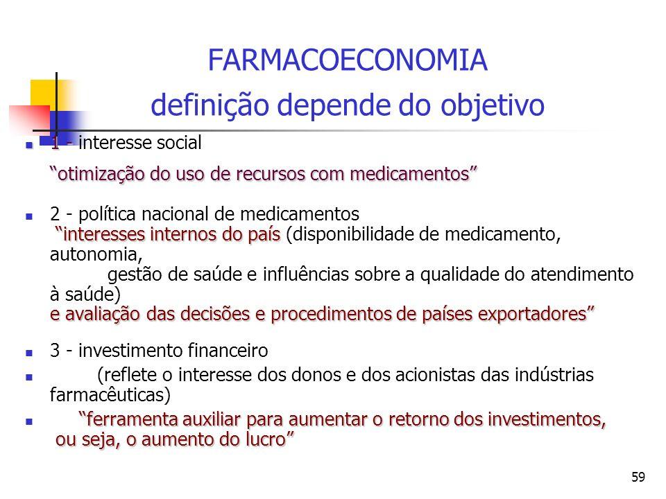 59 FARMACOECONOMIA definição depende do objetivo 1 - otimização do uso de recursos com medicamentos 1 - interesse social otimização do uso de recursos