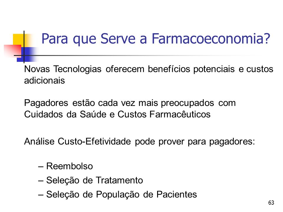 63 Para que Serve a Farmacoeconomia.