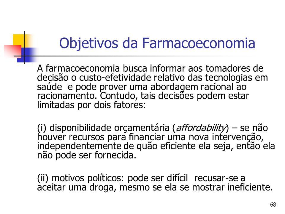 68 Objetivos da Farmacoeconomia A farmacoeconomia busca informar aos tomadores de decisão o custo-efetividade relativo das tecnologias em saúde e pode