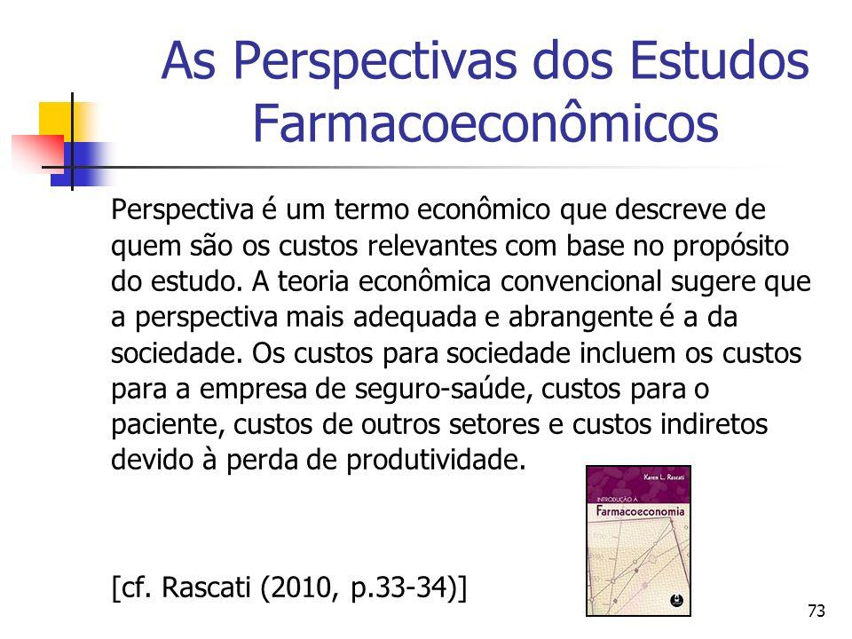 73 As Perspectivas dos Estudos Farmacoeconômicos Perspectiva é um termo econômico que descreve de quem são os custos relevantes com base no propósito