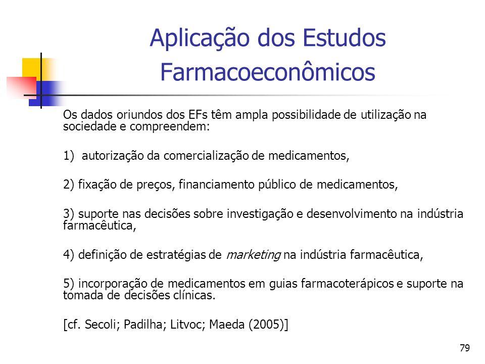 79 Aplicação dos Estudos Farmacoeconômicos Os dados oriundos dos EFs têm ampla possibilidade de utilização na sociedade e compreendem: 1) autorização