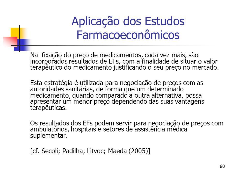 80 Aplicação dos Estudos Farmacoeconômicos Na fixação do preço de medicamentos, cada vez mais, são incorporados resultados de EFs, com a finalidade de