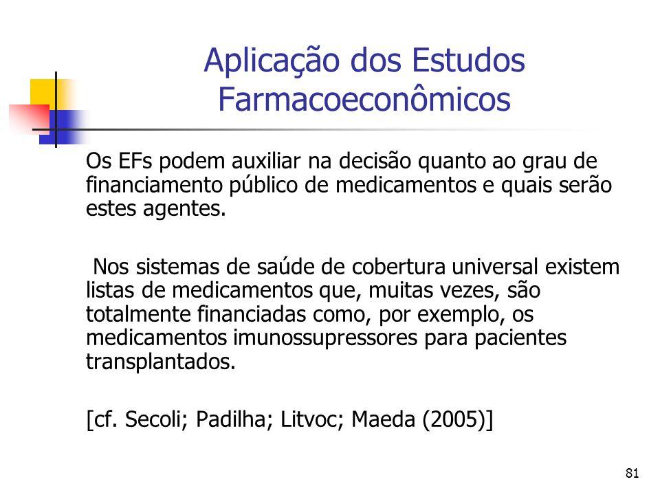 81 Aplicação dos Estudos Farmacoeconômicos Os EFs podem auxiliar na decisão quanto ao grau de financiamento público de medicamentos e quais serão este