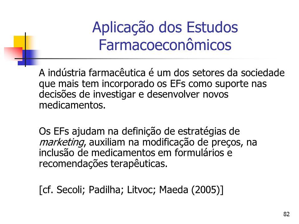 82 Aplicação dos Estudos Farmacoeconômicos A indústria farmacêutica é um dos setores da sociedade que mais tem incorporado os EFs como suporte nas dec