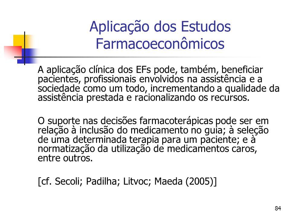 84 Aplicação dos Estudos Farmacoeconômicos A aplicação clínica dos EFs pode, também, beneficiar pacientes, profissionais envolvidos na assistência e a