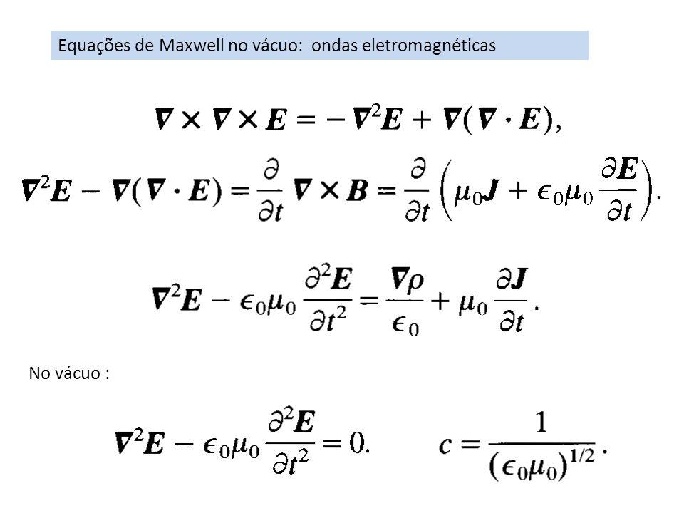 Equações de Maxwell no vácuo: ondas eletromagnéticas No vácuo :