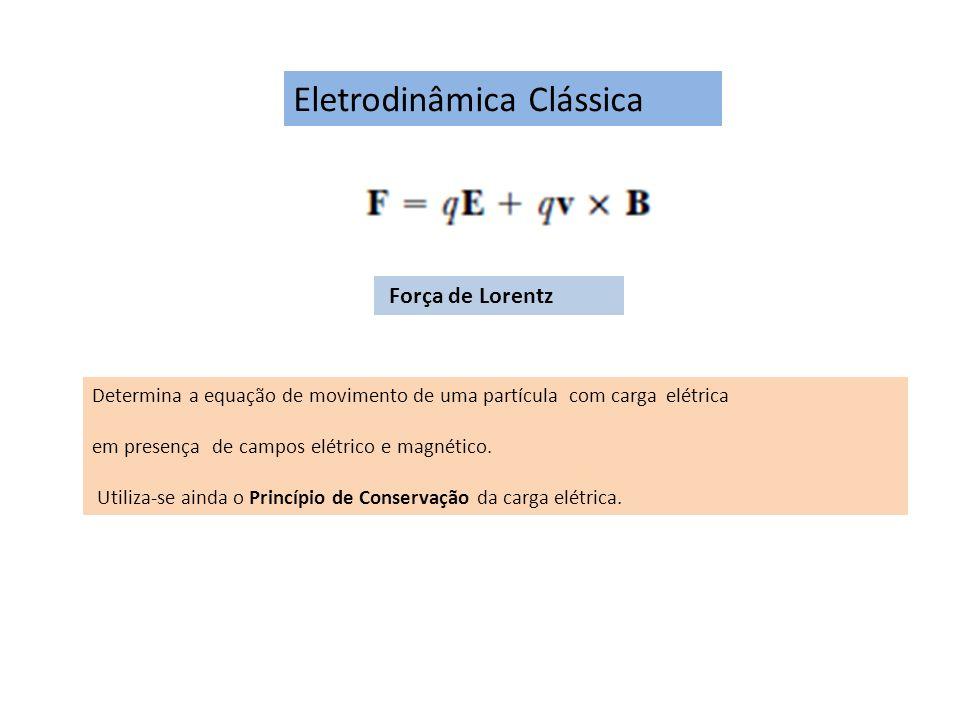 Eletrodinâmica Clássica Força de Lorentz Determina a equação de movimento de uma partícula com carga elétrica em presença de campos elétrico e magnéti