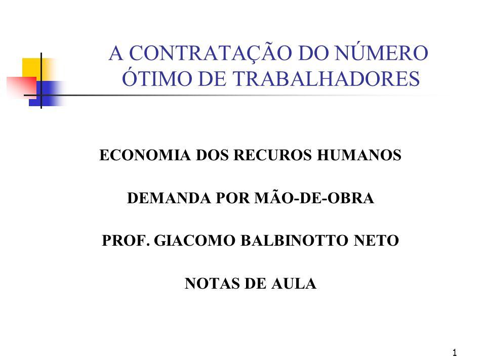 1 A CONTRATAÇÃO DO NÚMERO ÓTIMO DE TRABALHADORES ECONOMIA DOS RECUROS HUMANOS DEMANDA POR MÃO-DE-OBRA PROF. GIACOMO BALBINOTTO NETO NOTAS DE AULA
