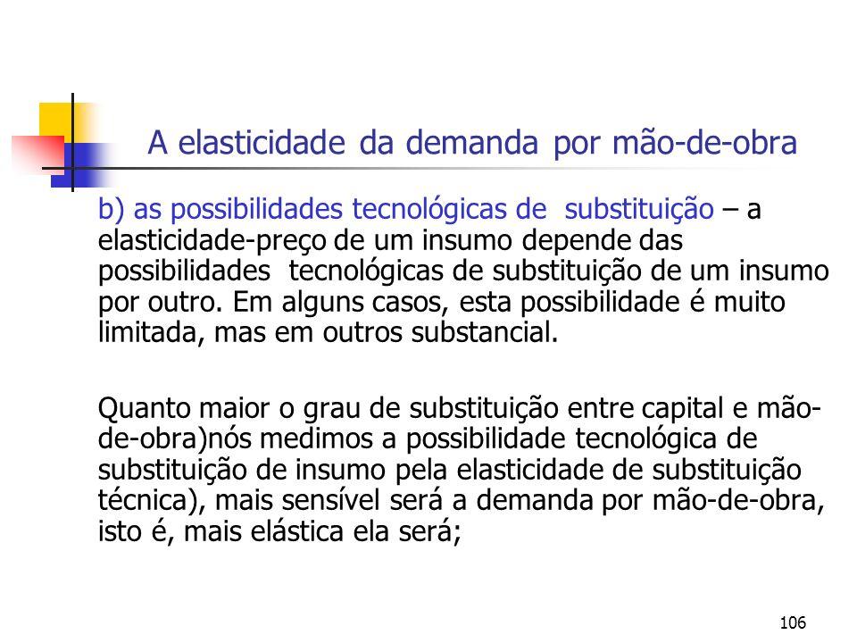 106 A elasticidade da demanda por mão-de-obra b) as possibilidades tecnológicas de substituição – a elasticidade-preço de um insumo depende das possib