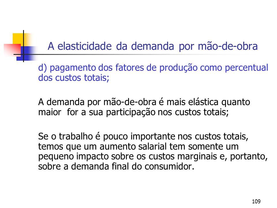 109 A elasticidade da demanda por mão-de-obra d) pagamento dos fatores de produção como percentual dos custos totais; A demanda por mão-de-obra é mais