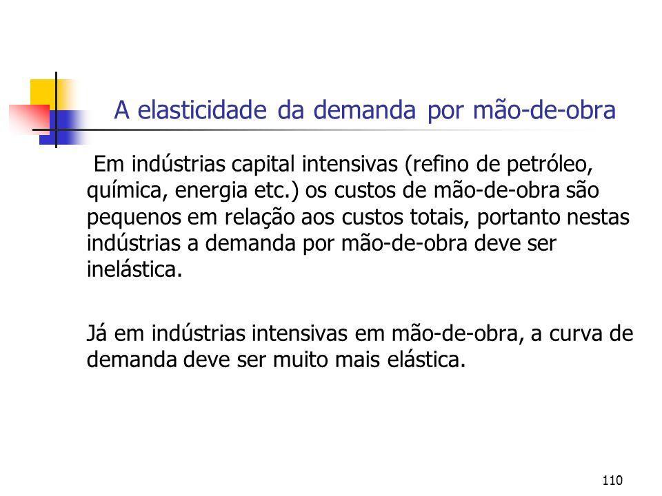 110 A elasticidade da demanda por mão-de-obra Em indústrias capital intensivas (refino de petróleo, química, energia etc.) os custos de mão-de-obra sã