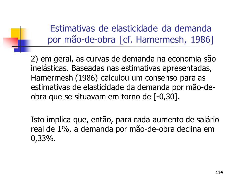 114 Estimativas de elasticidade da demanda por mão-de-obra [cf. Hamermesh, 1986] 2) em geral, as curvas de demanda na economia são inelásticas. Basead