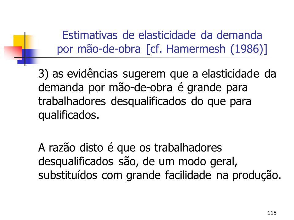 115 Estimativas de elasticidade da demanda por mão-de-obra [cf. Hamermesh (1986)] 3) as evidências sugerem que a elasticidade da demanda por mão-de-ob