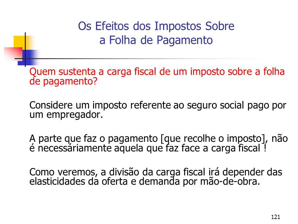 121 Os Efeitos dos Impostos Sobre a Folha de Pagamento Quem sustenta a carga fiscal de um imposto sobre a folha de pagamento? Considere um imposto ref