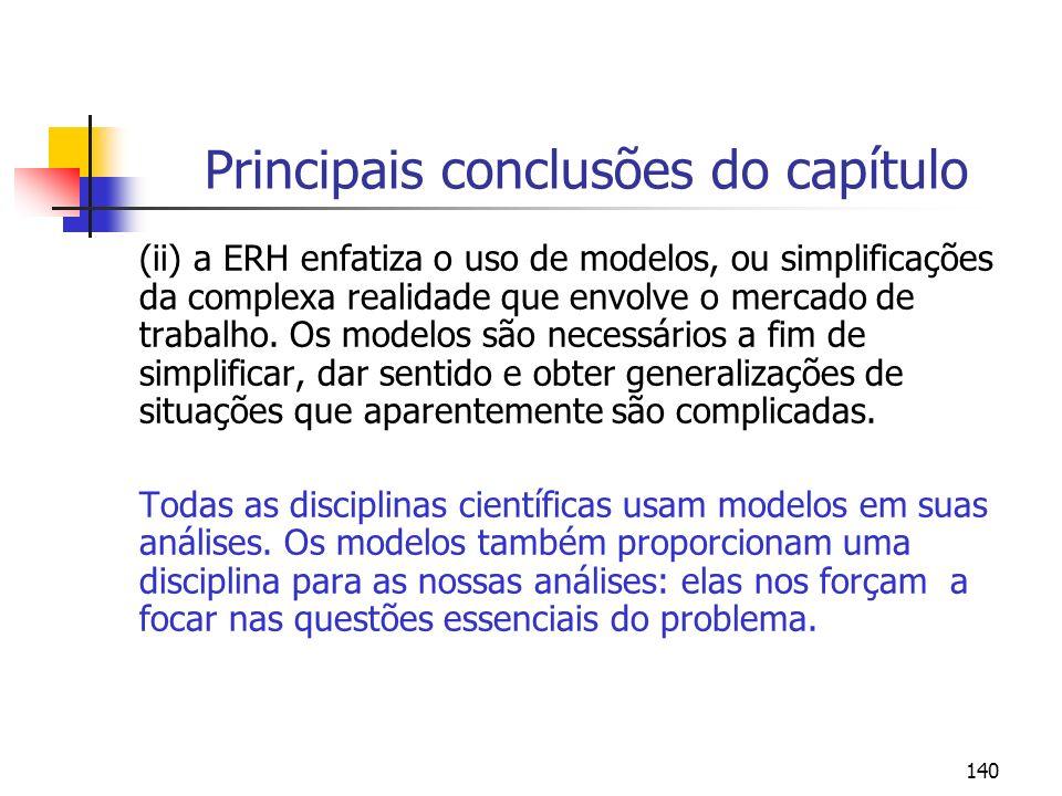 140 Principais conclusões do capítulo (ii) a ERH enfatiza o uso de modelos, ou simplificações da complexa realidade que envolve o mercado de trabalho.