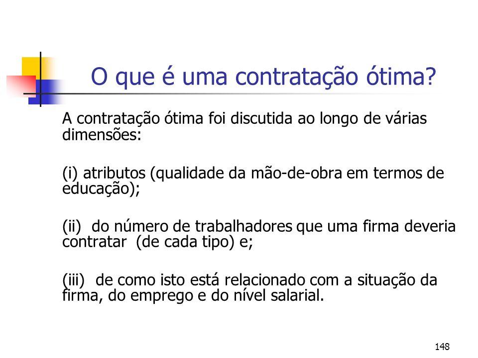 148 O que é uma contratação ótima? A contratação ótima foi discutida ao longo de várias dimensões: (i) atributos (qualidade da mão-de-obra em termos d