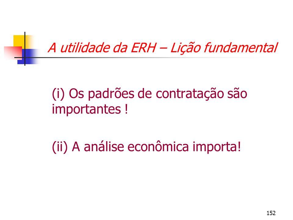 152 A utilidade da ERH – Lição fundamental (i) Os padrões de contratação são importantes ! (ii) A análise econômica importa!
