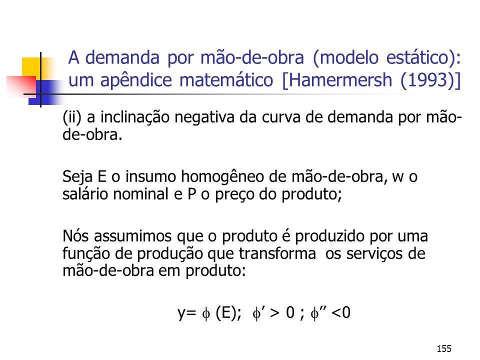 155 A demanda por mão-de-obra (modelo estático): um apêndice matemático [Hamermersh (1993)] (ii) a inclinação negativa da curva de demanda por mão- de