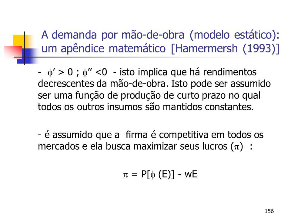 156 A demanda por mão-de-obra (modelo estático): um apêndice matemático [Hamermersh (1993)] - > 0 ; <0 - isto implica que há rendimentos decrescentes