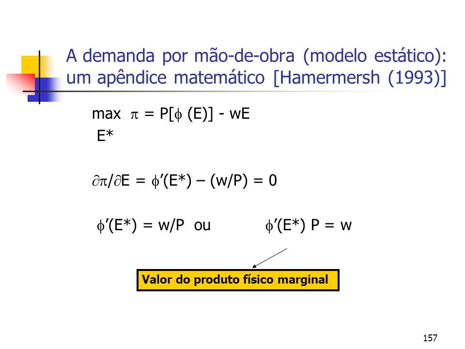 157 A demanda por mão-de-obra (modelo estático): um apêndice matemático [Hamermersh (1993)] max = P[ (E)] - wE E* / E = (E*) – (w/P) = 0 (E*) = w/P ou