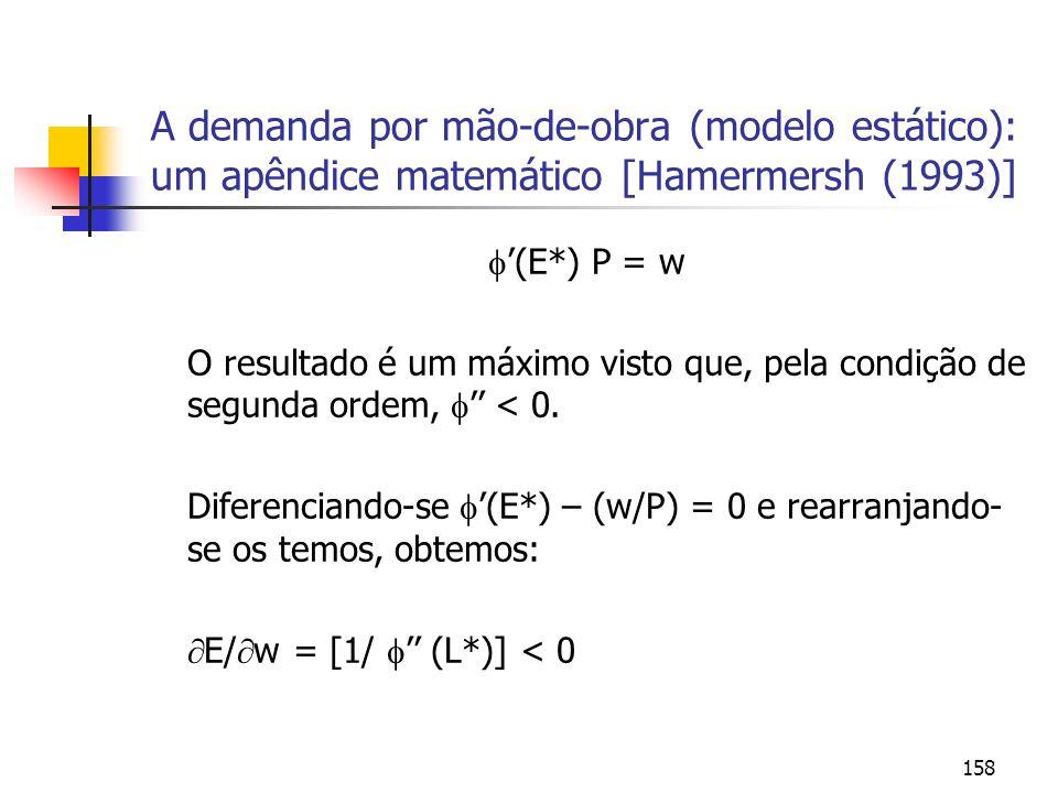 158 A demanda por mão-de-obra (modelo estático): um apêndice matemático [Hamermersh (1993)] (E*) P = w O resultado é um máximo visto que, pela condiçã