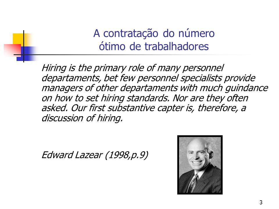 3 A contratação do número ótimo de trabalhadores Hiring is the primary role of many personnel departaments, bet few personnel specialists provide mana