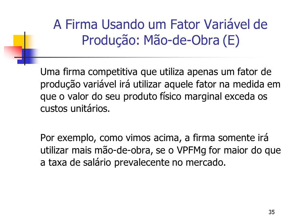 35 A Firma Usando um Fator Variável de Produção: Mão-de-Obra (E) Uma firma competitiva que utiliza apenas um fator de produção variável irá utilizar a