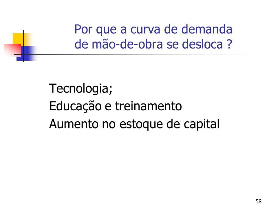 58 Por que a curva de demanda de mão-de-obra se desloca ? Tecnologia; Educação e treinamento Aumento no estoque de capital