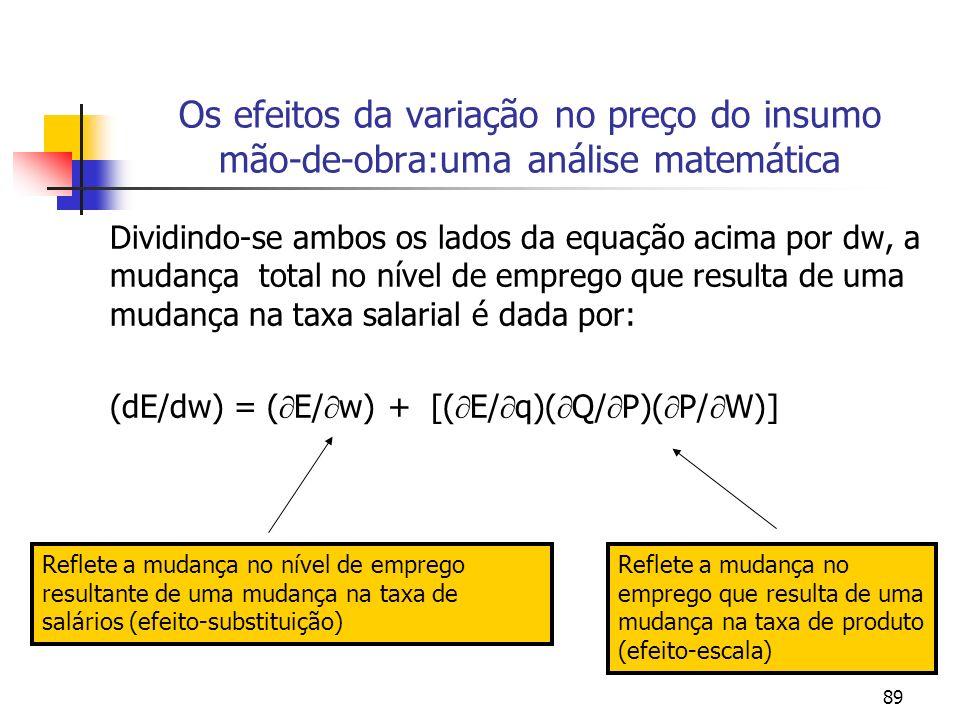 89 Os efeitos da variação no preço do insumo mão-de-obra:uma análise matemática Dividindo-se ambos os lados da equação acima por dw, a mudança total n