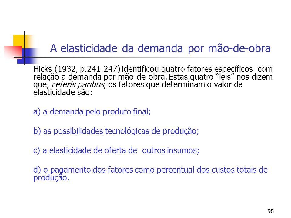 98 A elasticidade da demanda por mão-de-obra Hicks (1932, p.241-247) identificou quatro fatores específicos com relação a demanda por mão-de-obra. Est